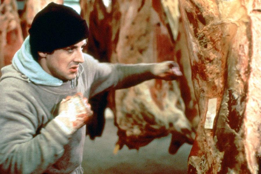 Rocky punching meat ()