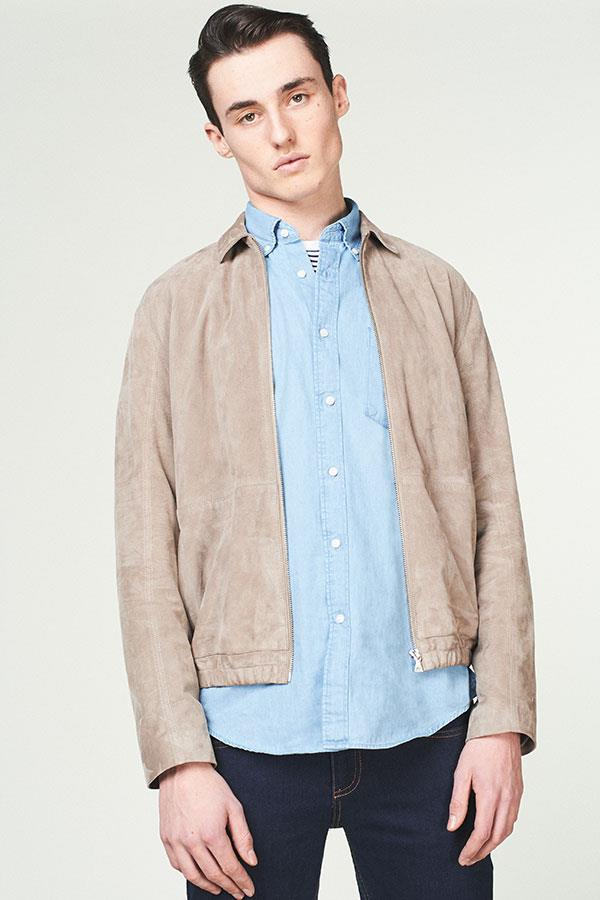 Suede sports jacket with denim shirt FS magazine ()